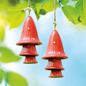 Ceramic Red Spotted Mushroom Windchime, Set of 2