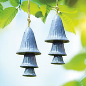 Ceramic Blue Spotted Mushroom Windchime, Set of 2
