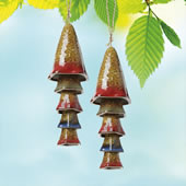 Ceramic Mushroom Windchime, Orange Banded Top, Set of 2