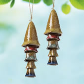 Ceramic Mushroom Windchime, Yellow Banded Top, Set of 2