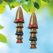 Ceramic Mushroom Windchime, Red Banded Top, Set of 2