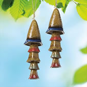 Ceramic Mushroom Windchime, Blue Banded Top, Set of 2