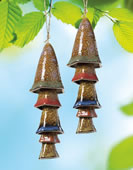 Ceramic Mushroom Windchime, Green Banded Top, Set of 2