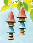 Ceramic Mushroom Windchime, Red Top, Set of 2