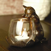 Peeking Cat with Votive