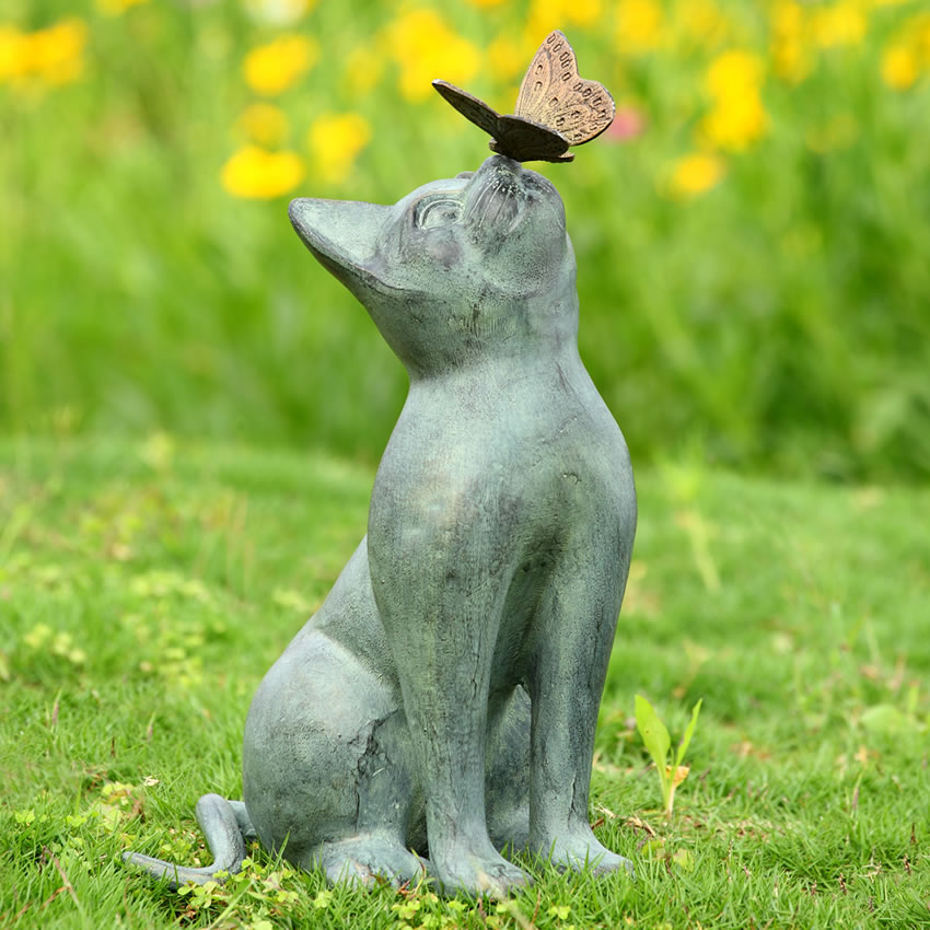 Curiosity Garden Sculpture Cat And Butterfly Spi San Pacific International All Products