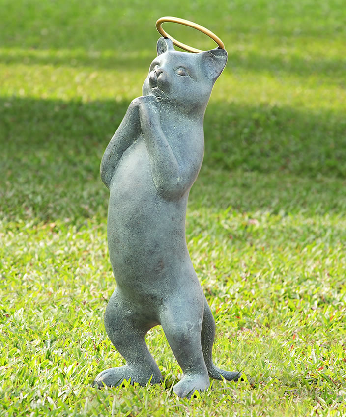Innocence garden sculpture cat with halo spi san pacific for Cat yard art