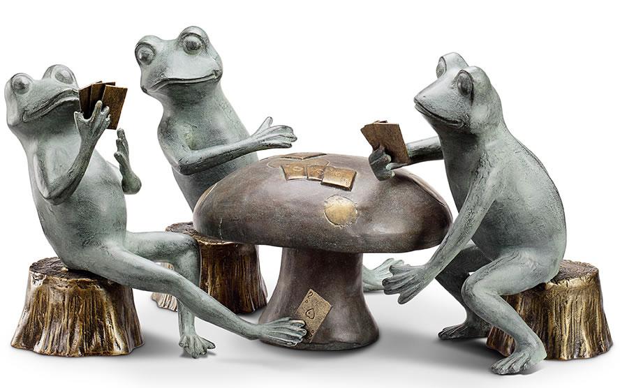 Card Cheat Frogs Garden Sculpture Set, SPI-San-Pacific