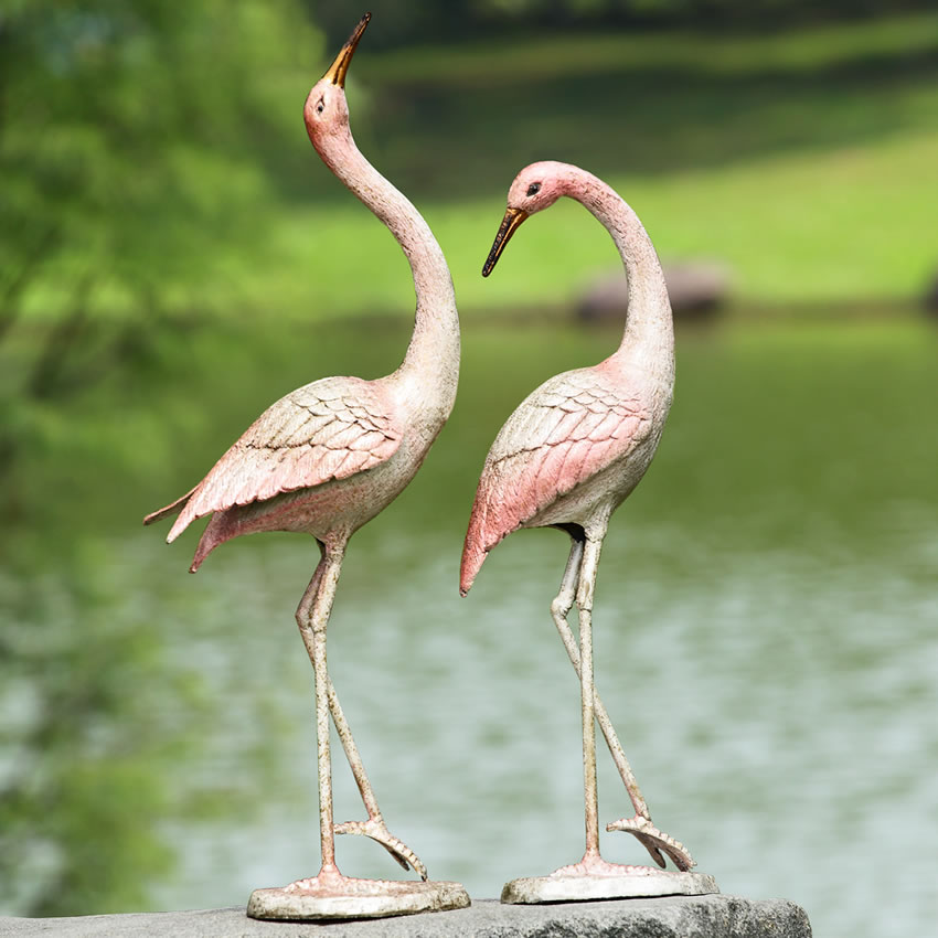 Flamboyant Crane Garden Statue Pair Spi San Pacific