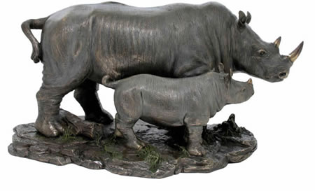 Rhino Family Sculpture
