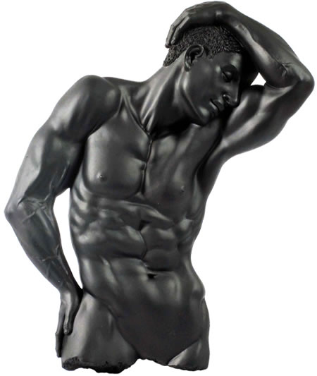 Expectation Nude Male Wall Plaque- Black