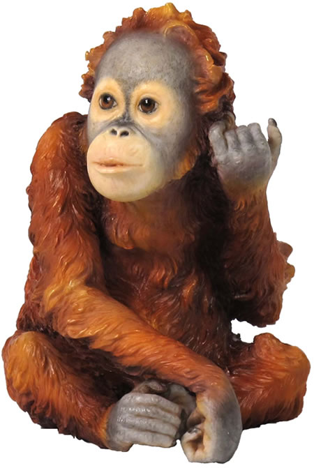 Baby Orangutan Pewter Ornament Miniature Fine Art Pewter Figurine Miniature Sculpture