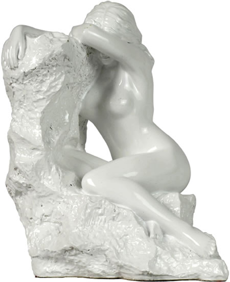 Nude Woman on Rock Statue, White