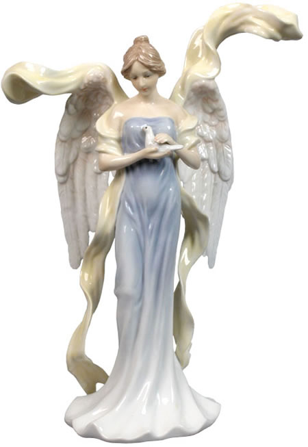 Beautiful Angel Holding Dove Sculpture, Blue