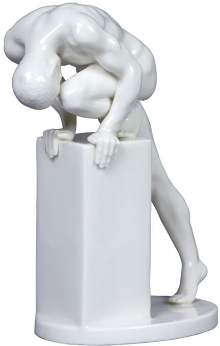 Stretching Male Nude Sculpture- Glazed