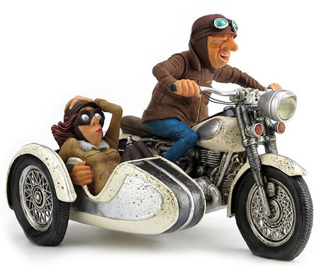 The Sidecar Tour Motorcycle Statue by Guillermo Forchino