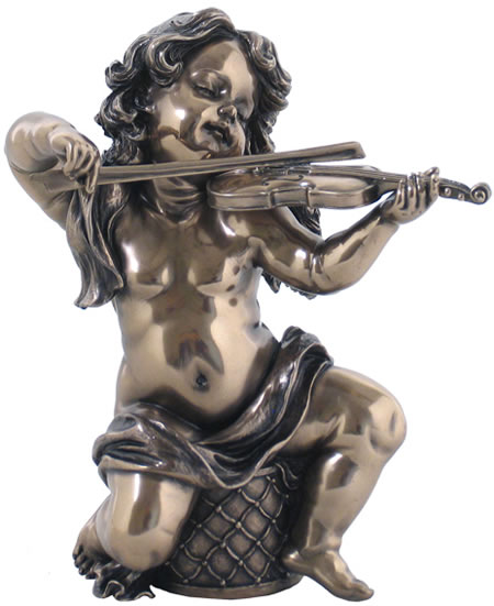 Cherub Playing Violin Statue