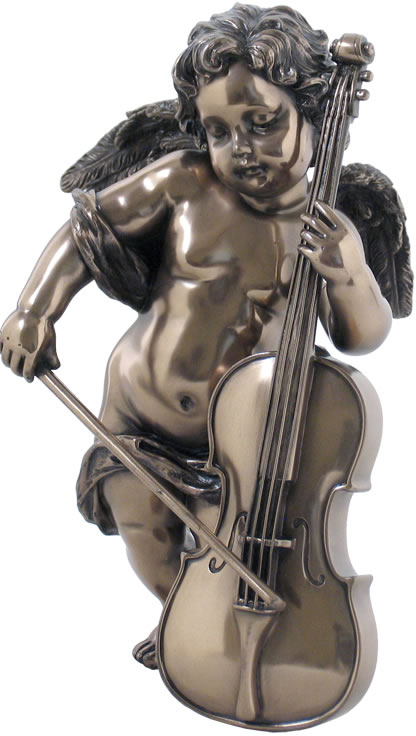 Cherub Playing Cello Statue