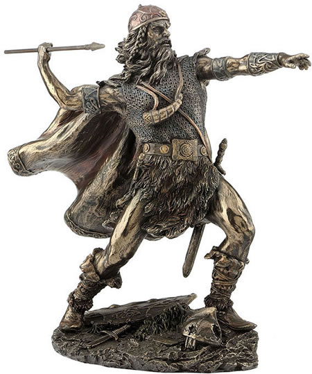 Viking Warrior Tossing Spear Statue