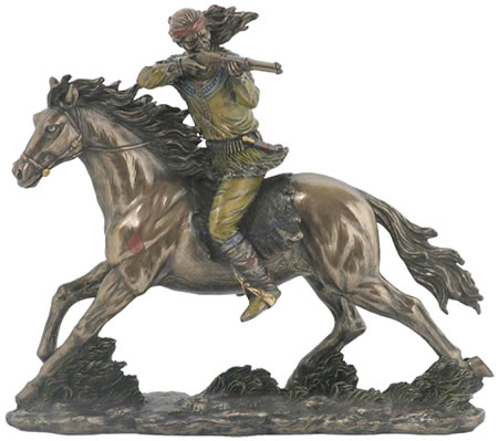 Apache Indian On Horseback Sculpture
