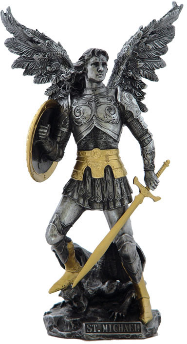 Saint Michael Statue- Pewter and Gold
