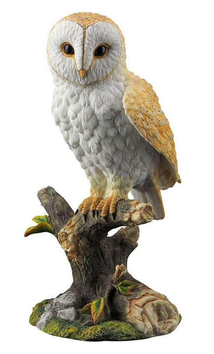 Barn Owl Standing on Branch Statue