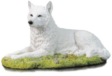 White Wolf Resting Statue Stu Home Aawu75709va