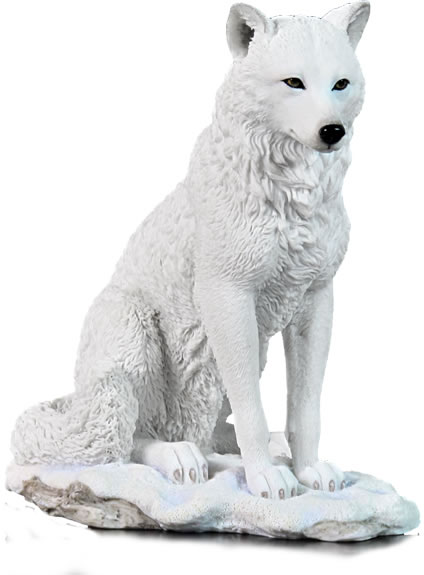 White Wolf Sitting In Snow Stu Home Aawu75719aa