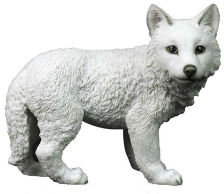 White Wolf Cub Statue Stu Home Aawu75824aa