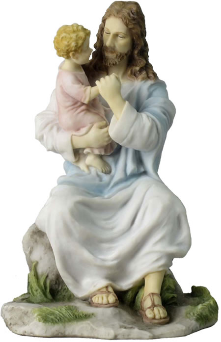 Jesus Holding A Child Statue