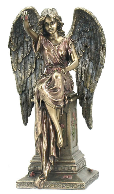 Angel Sitting On Pedestal With Roses