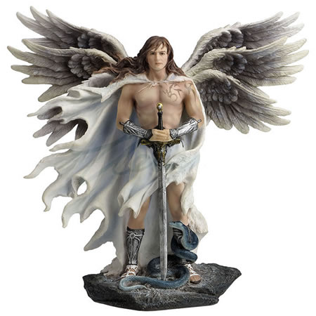 Six-Winged Guardian Angel/Seraphim and Serpent Statue