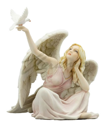 Angel With Dove On Hand Statue (Light)