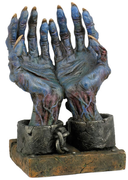 Chained Blue Zombie Hands Statue