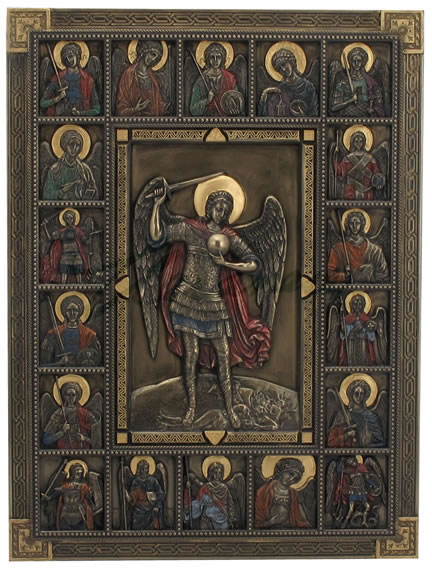 St. Michael Surrounded By Saints - Iconic Wall Plaque