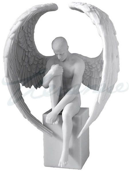 Male Nude Angel Sitting on Plinth Sculpture