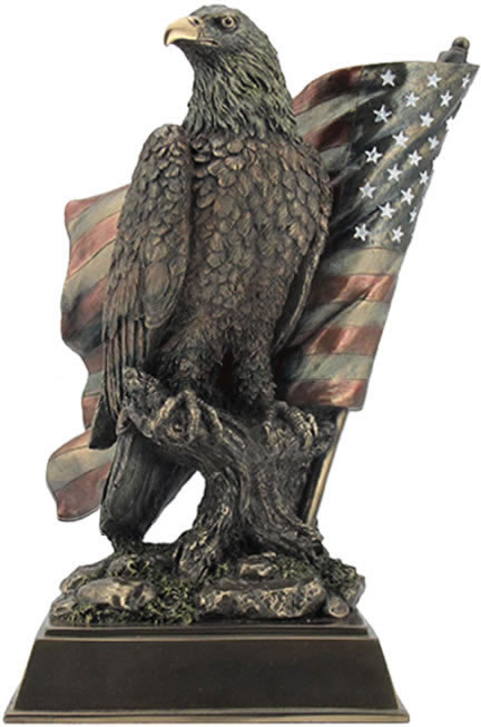 American Pride-Eagle with Flag Statue