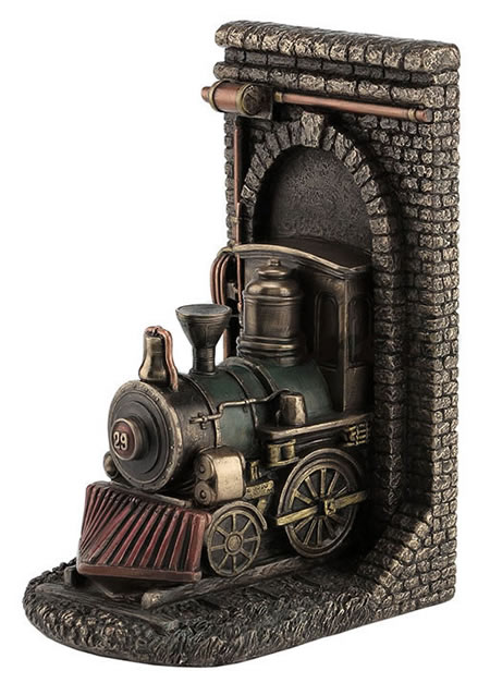 Steampunk Locomotive Out Of Tunnel Bookend (sold individually)
