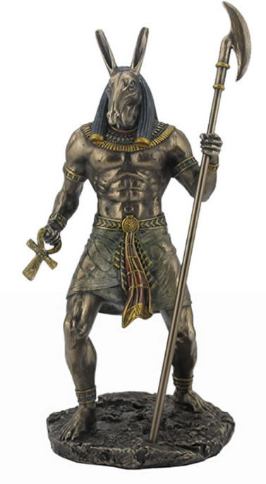 Anubis Holding Ankh And Was Scepter Statue