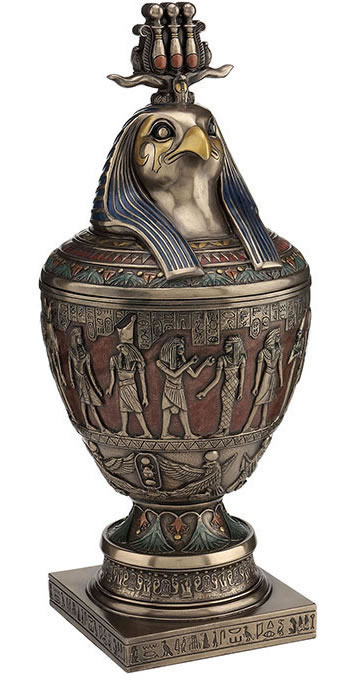 Egyptian Canopic Jar With Triple Atef Crowned Horus Bust Cover
