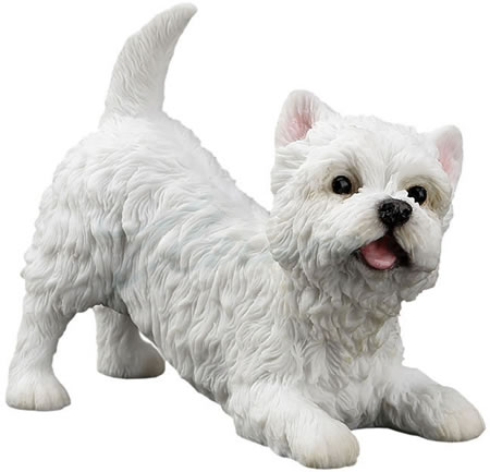 West Highland Terrier Playing Dog Figurine