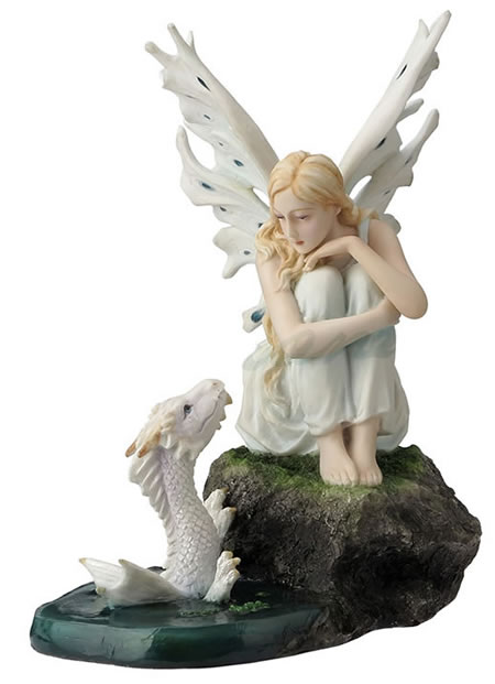 Fairy With Baby Water Dragon Statue