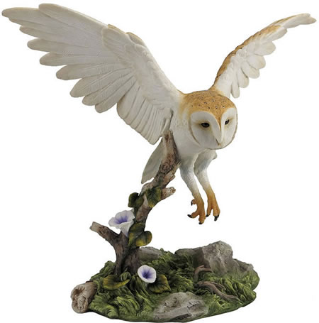 Barn Owl Flying Over Branch Statue