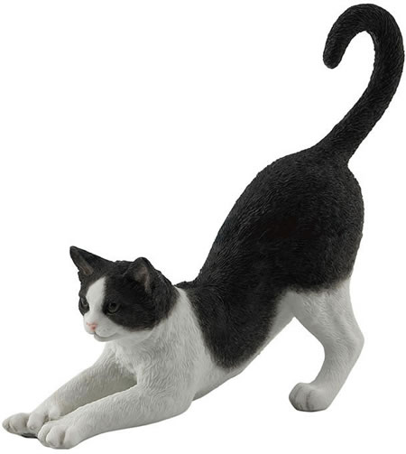 Black And White Cat Stretching Statue