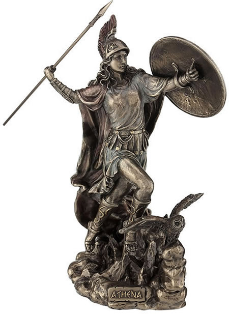 Athena Throwing Javelin With Owl Of Wisdom Statue