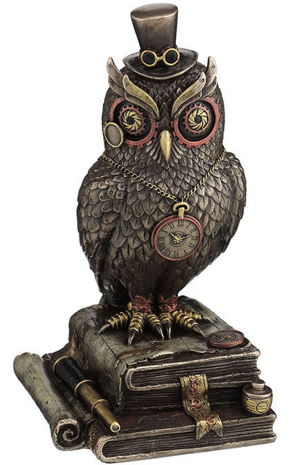 Steampunk Owl with Top Hat On Books Statue