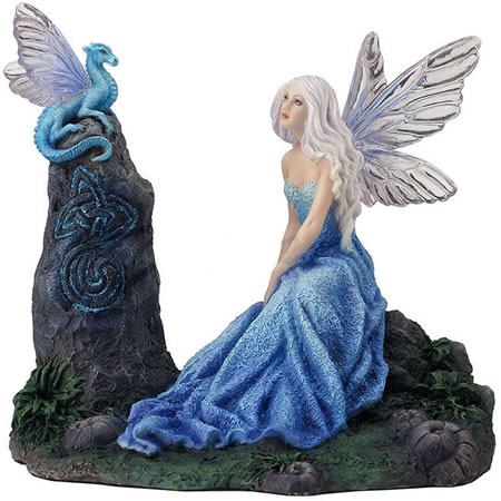 Luminescent Fairy with Dragon Statue