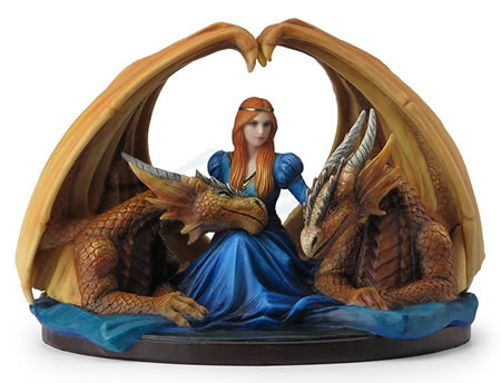 Fierce Loyalty- Maiden with Dragons Statue by Anne Stokes
