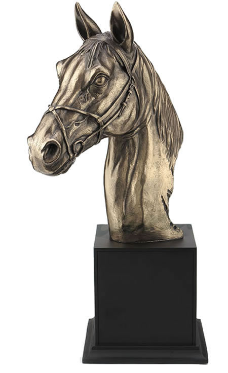 Horse Bust With Halter On Plinth Sculpture