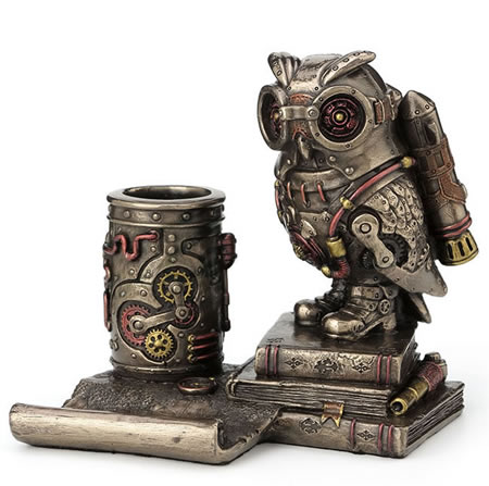 Steampunk Owl Cell Phone Stand Pen Holder